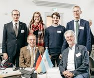 Kick-Off Meeting TU Dresden 2017: hinten v.l.n.r. Prof. Picasso, B.Eng. Liebig, Veniard, Prof. Heimann, vorne: Prof. del Pino, Prof. Heider; Foto von David Pinzer